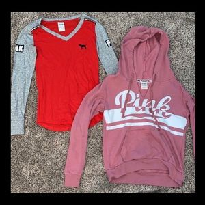 PINK xs long sleeve shirt and pull over